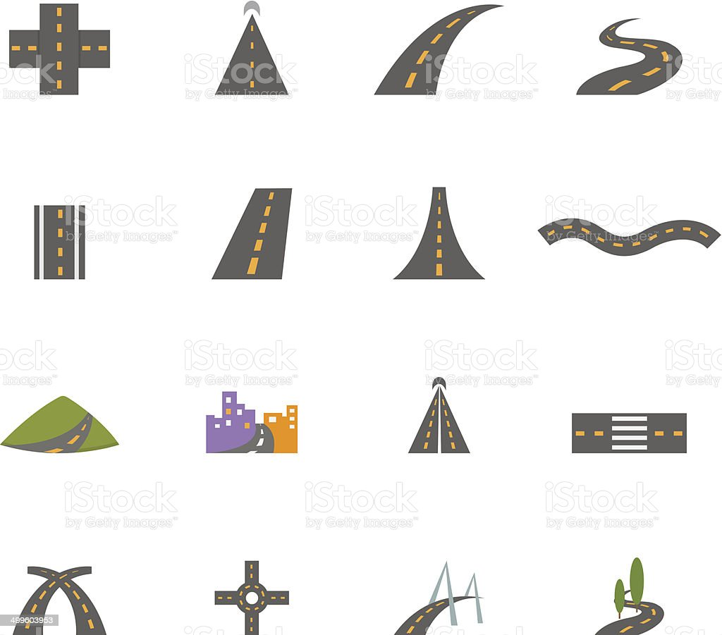 road icons vector eps10 vector art illustration