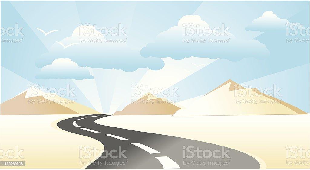 road in the desert royalty-free stock vector art