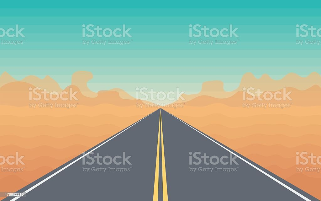 Road in The Desert vector art illustration