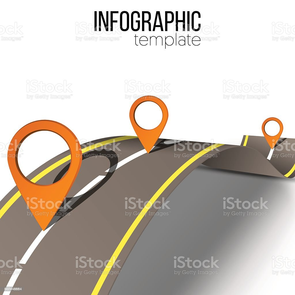 Road infographic template vector art illustration