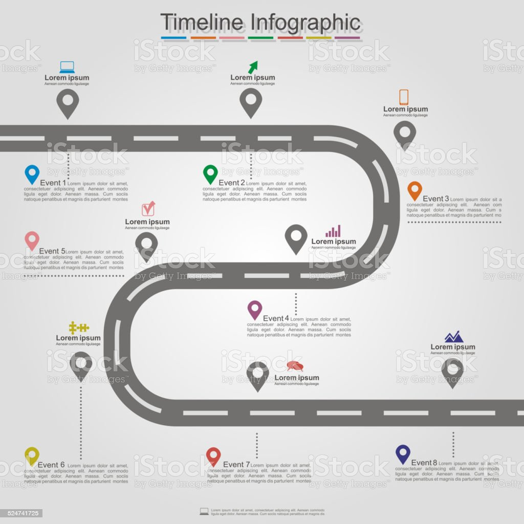 Road infographic timeline element layout. Vector vector art illustration