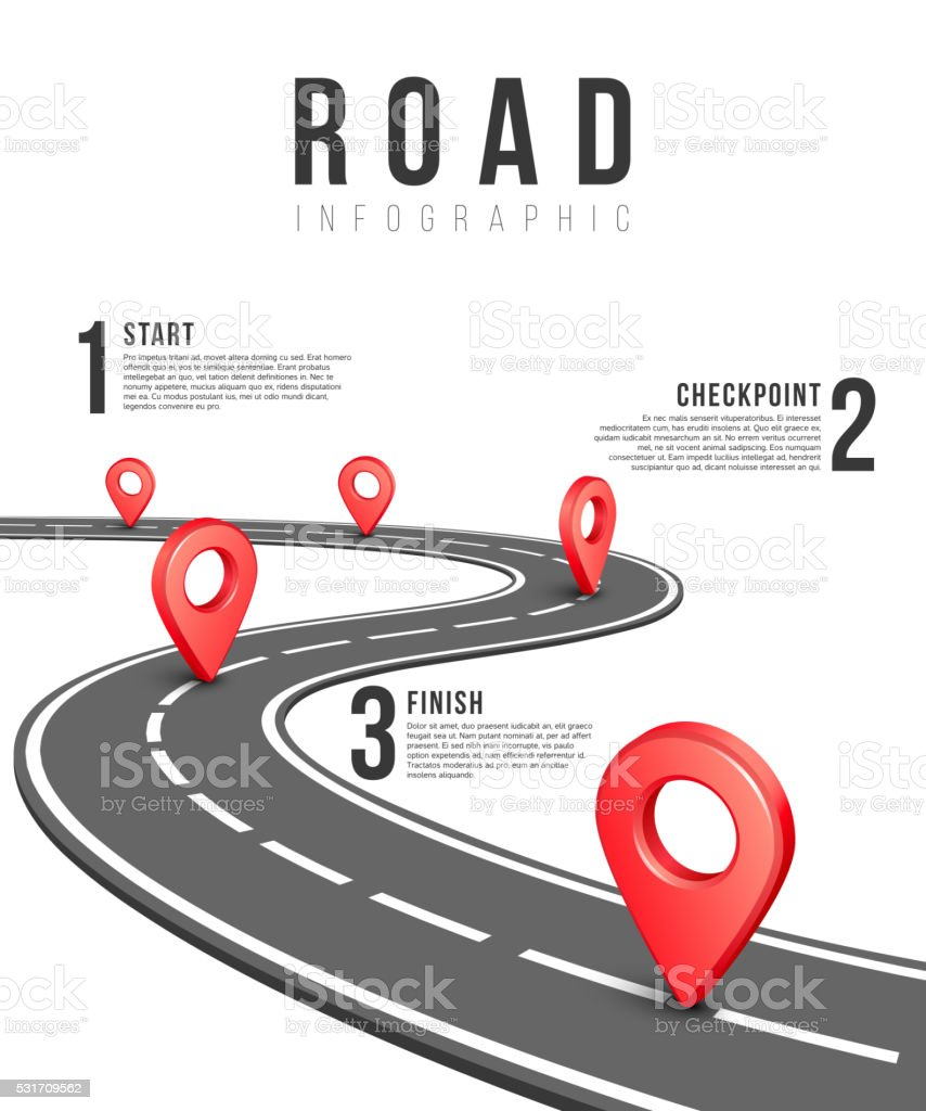 Road infographic vector template vector art illustration