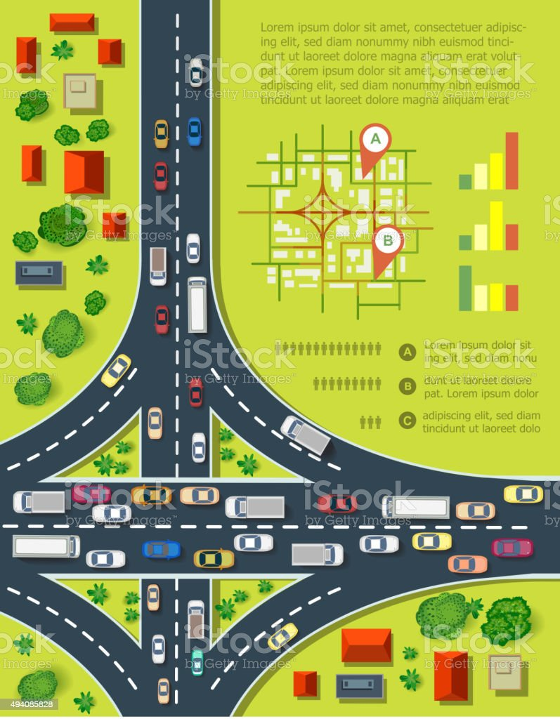 Road infographics vector art illustration