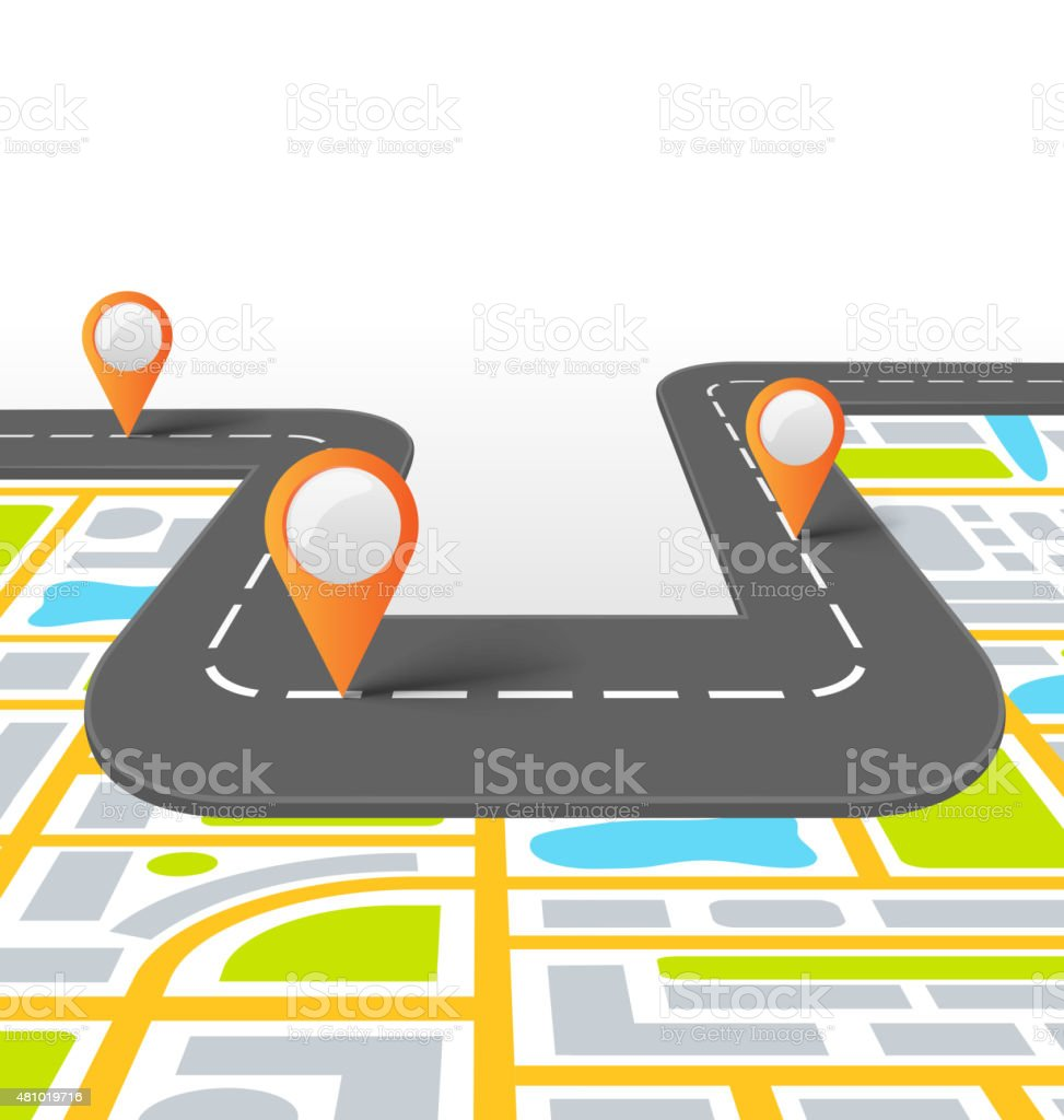 Road Information Background with Map vector art illustration