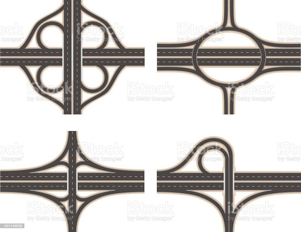 Road Interchange Set vector art illustration