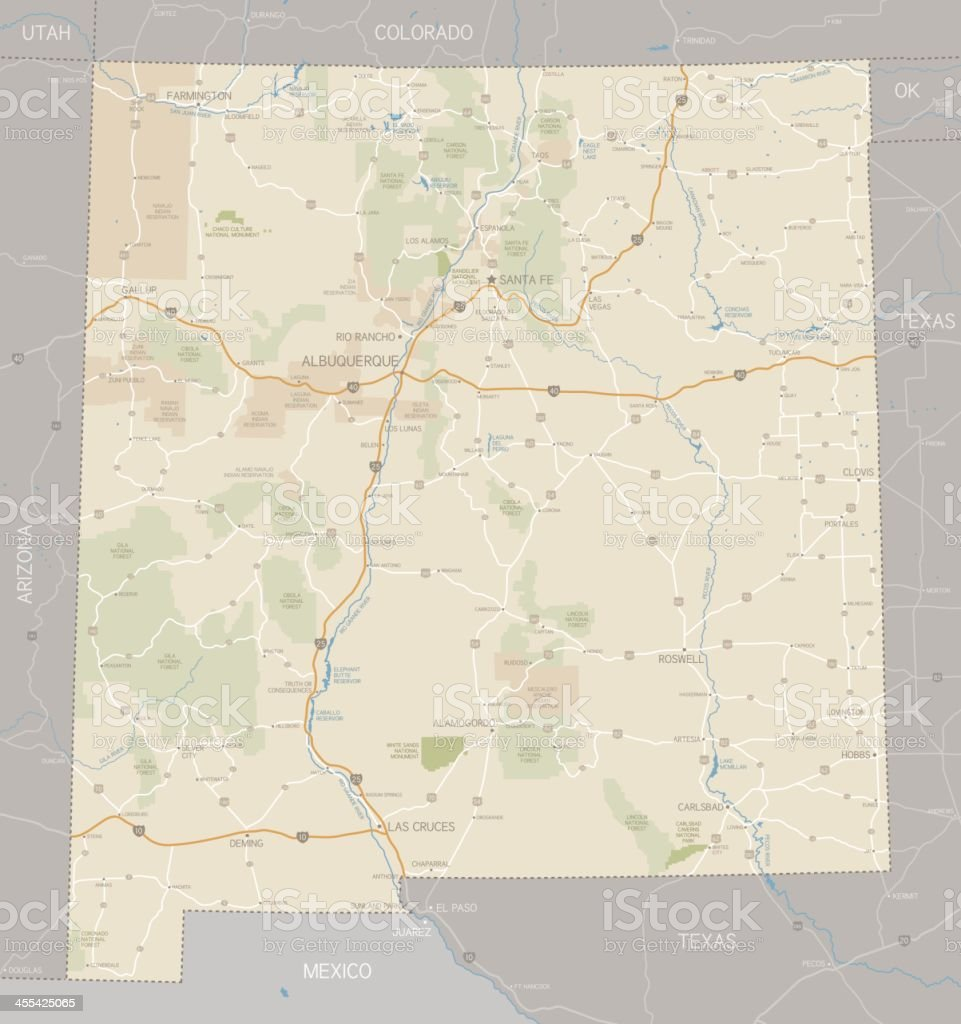 A road map of the state of New Mexico vector art illustration