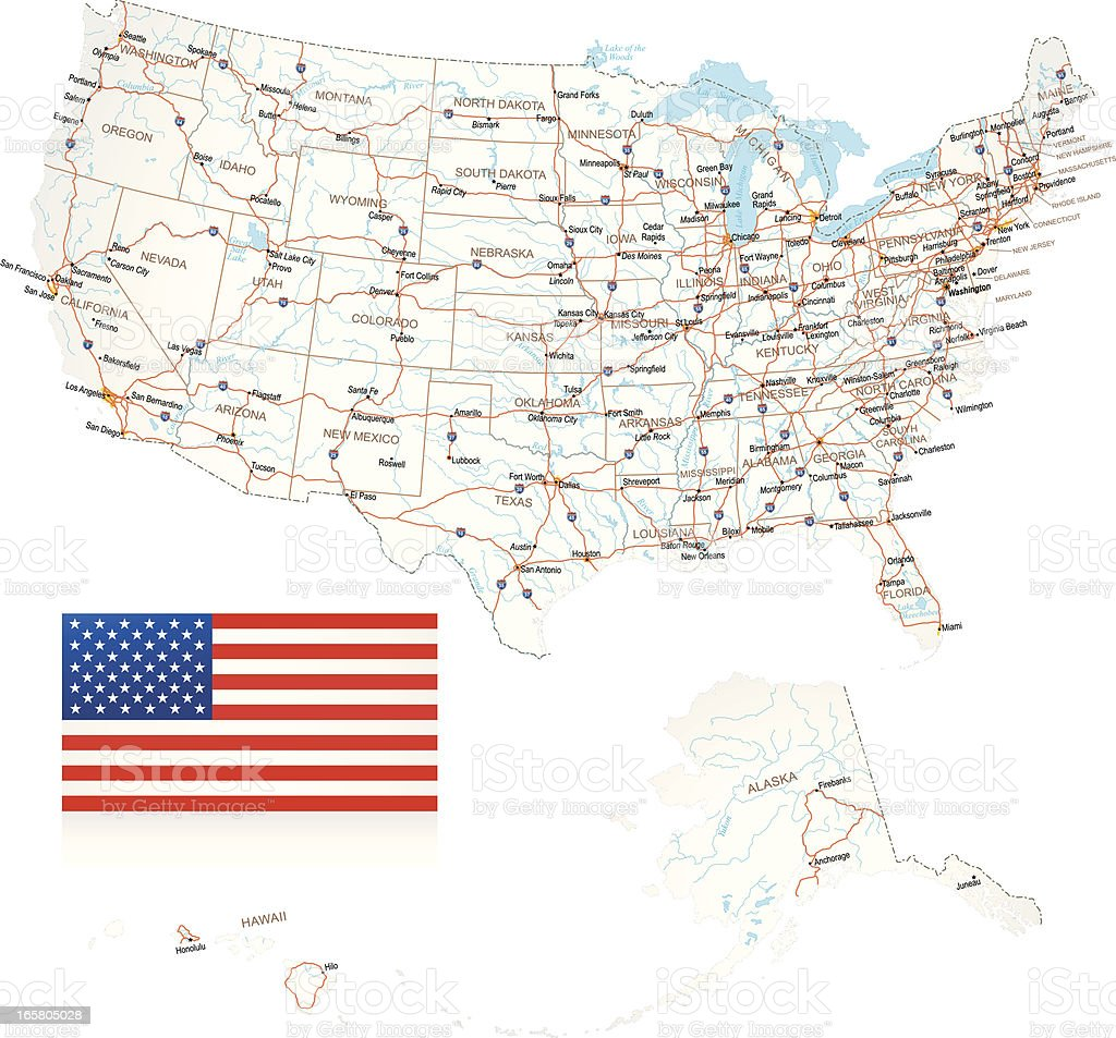 USA - Road Map vector art illustration