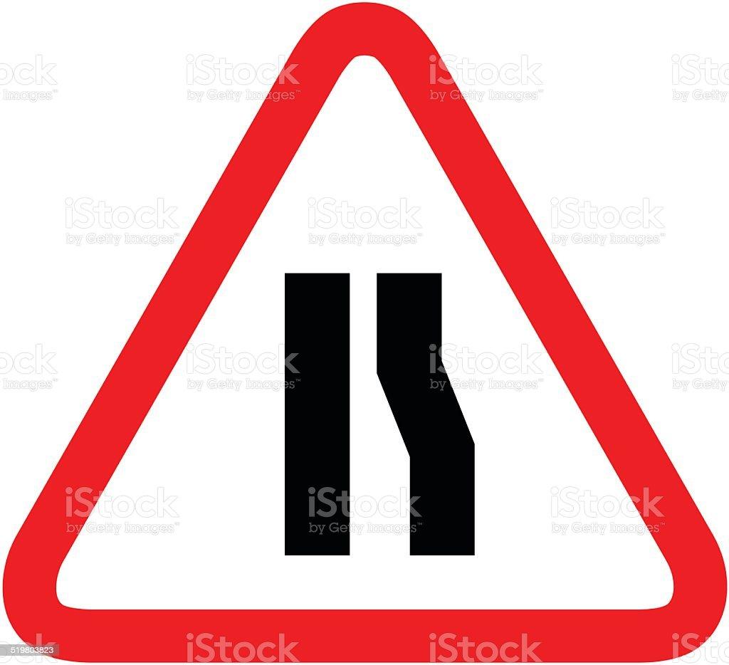 Road narrow sign on the right vector art illustration