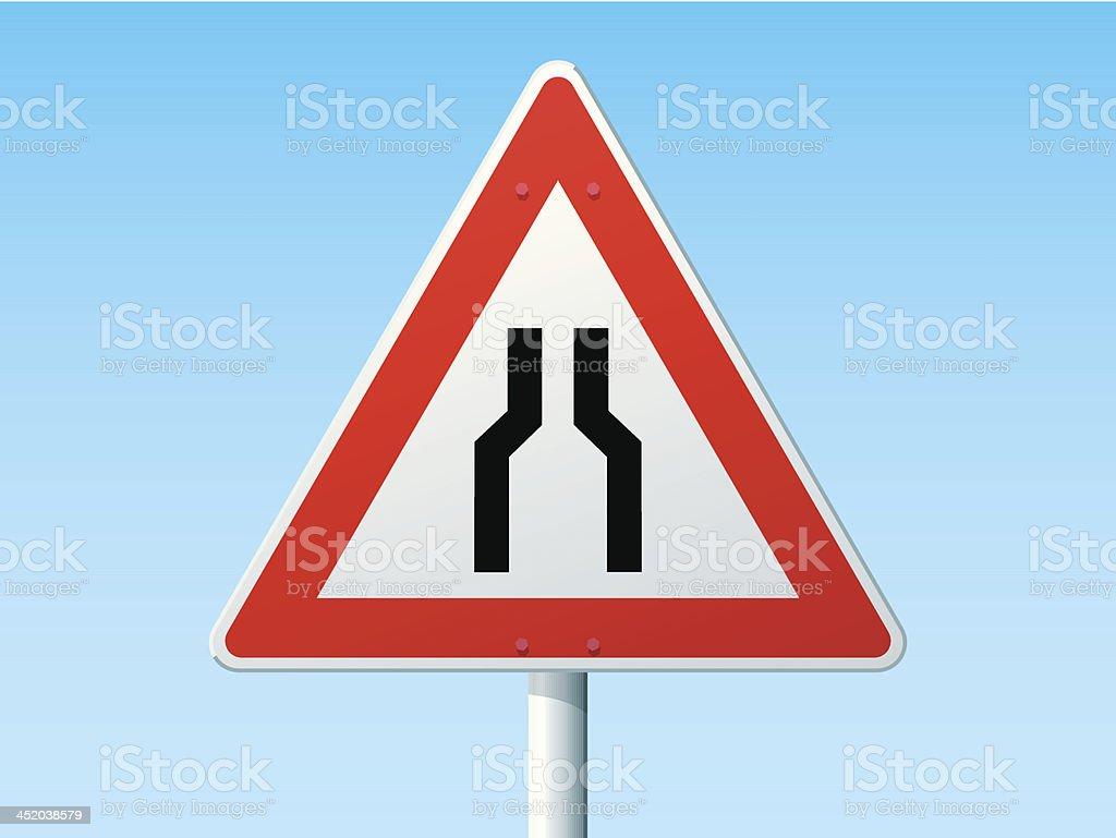 Road Narrows On Both Sides German Warning Sign vector art illustration