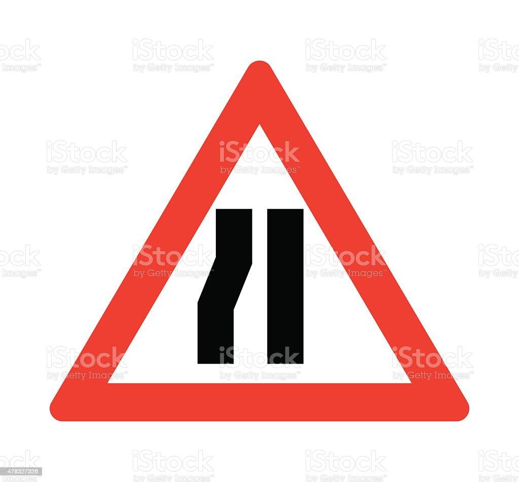 Road narrows on the left. vector art illustration