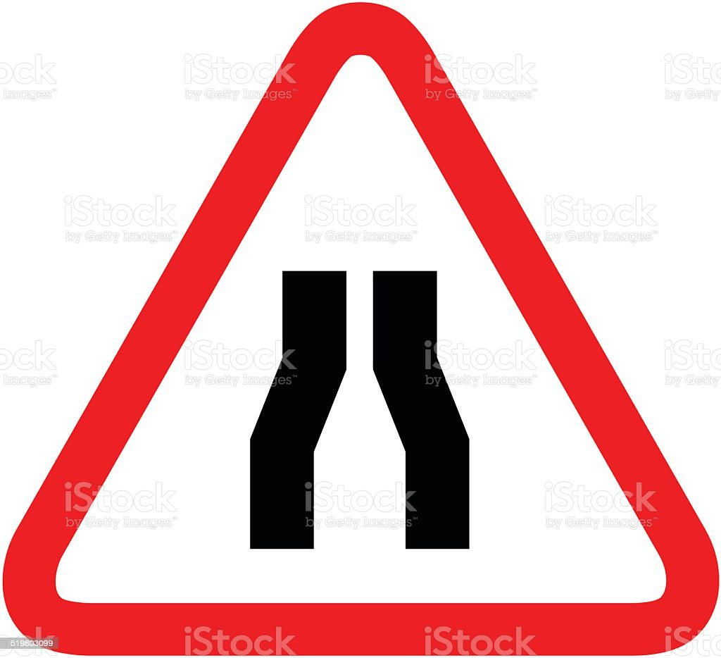Road narrows sign on white background vector art illustration