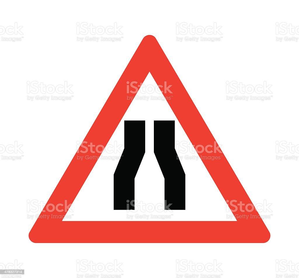 Road narrows sign vector art illustration