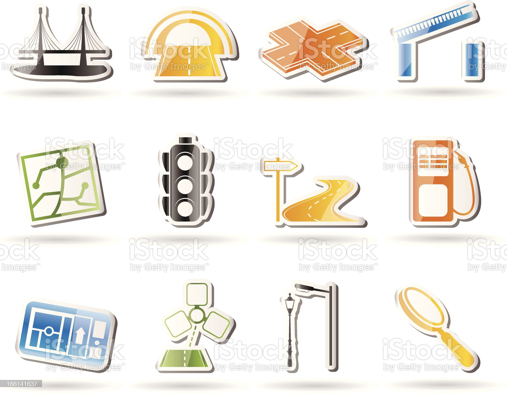 Road, navigation and travel icons royalty-free stock vector art