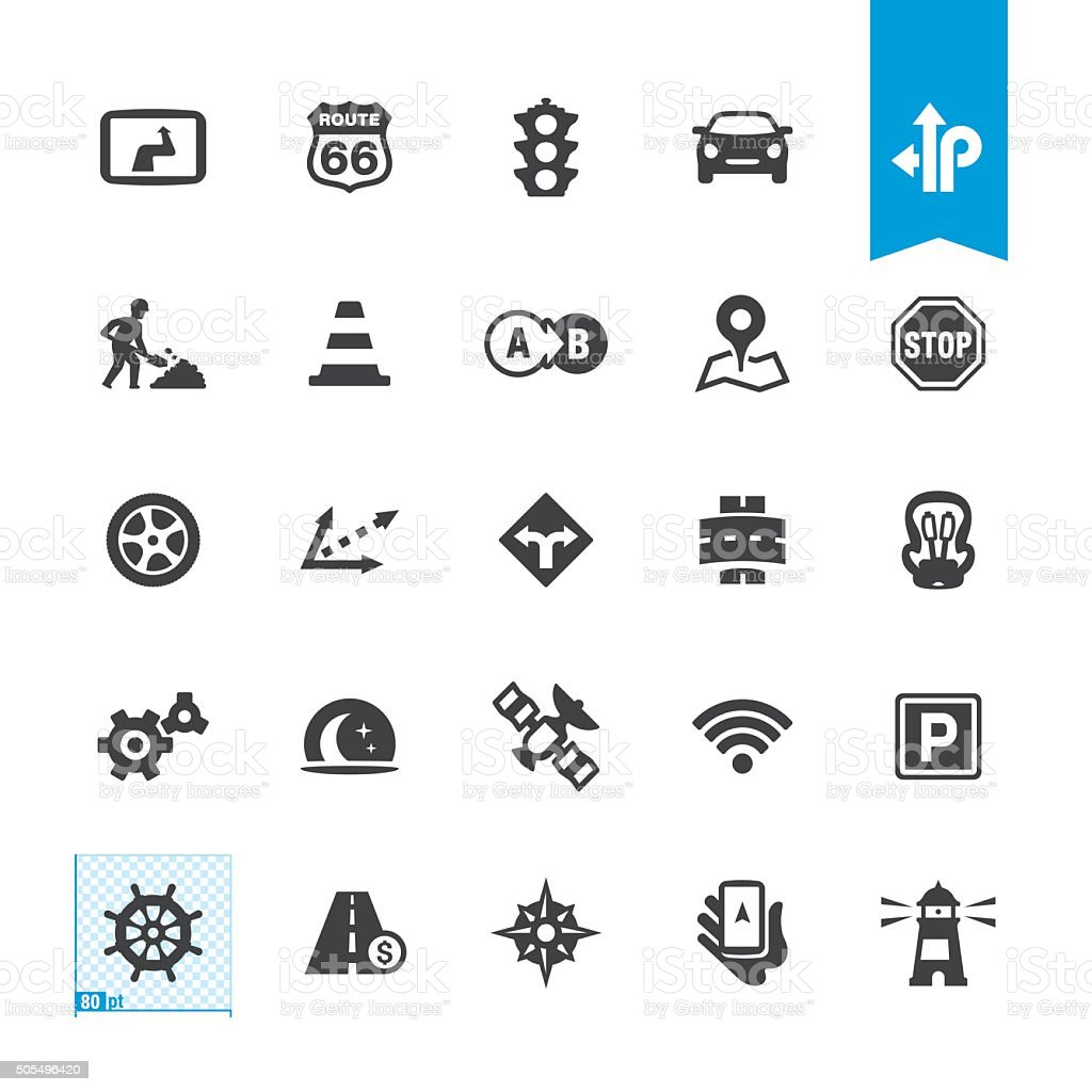 Road Navigation vector icons vector art illustration