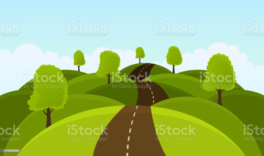 Road on hills among trees and meadows. vector art illustration