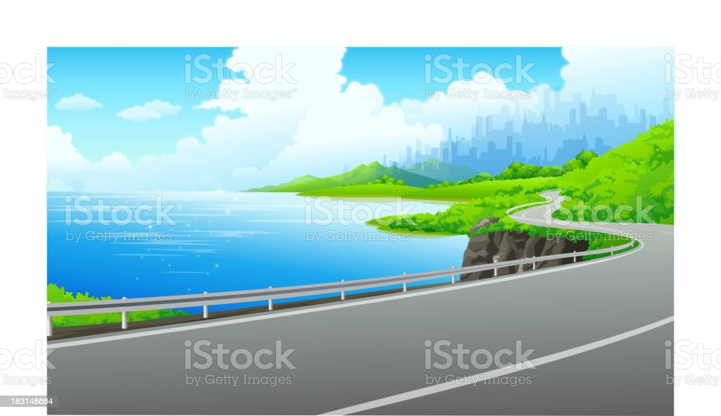 Road on the bank of lake royalty-free stock vector art