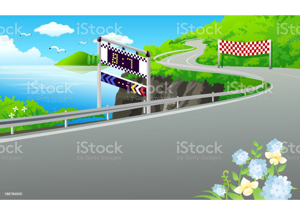 Road on the lake royalty-free stock vector art