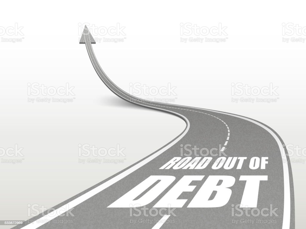road out of debt words on highway road vector art illustration