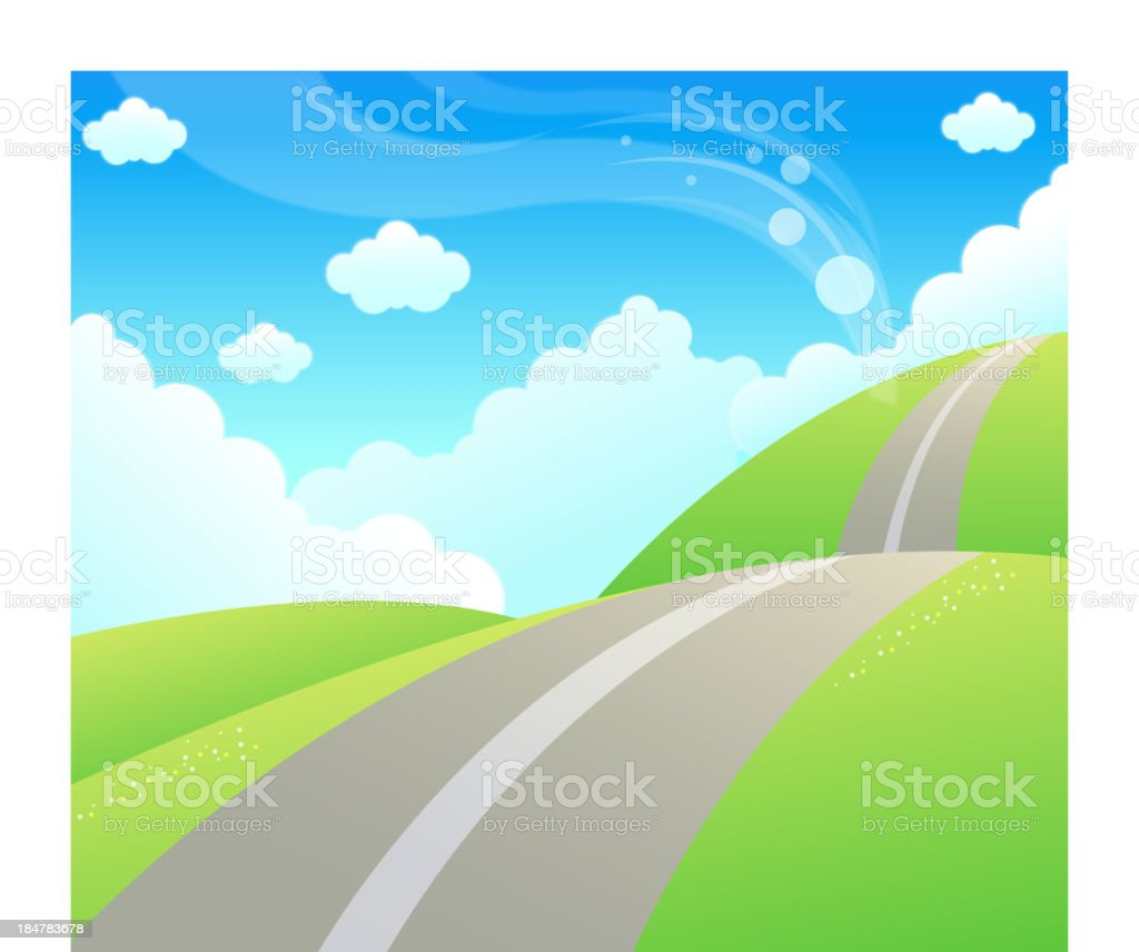 Road over Green mountain and sky royalty-free stock vector art
