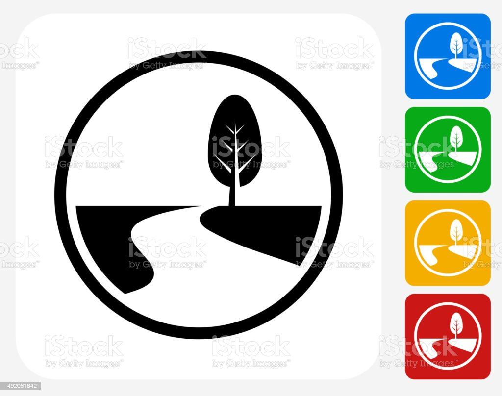 Road Path and Tree Icon Flat Graphic Design vector art illustration