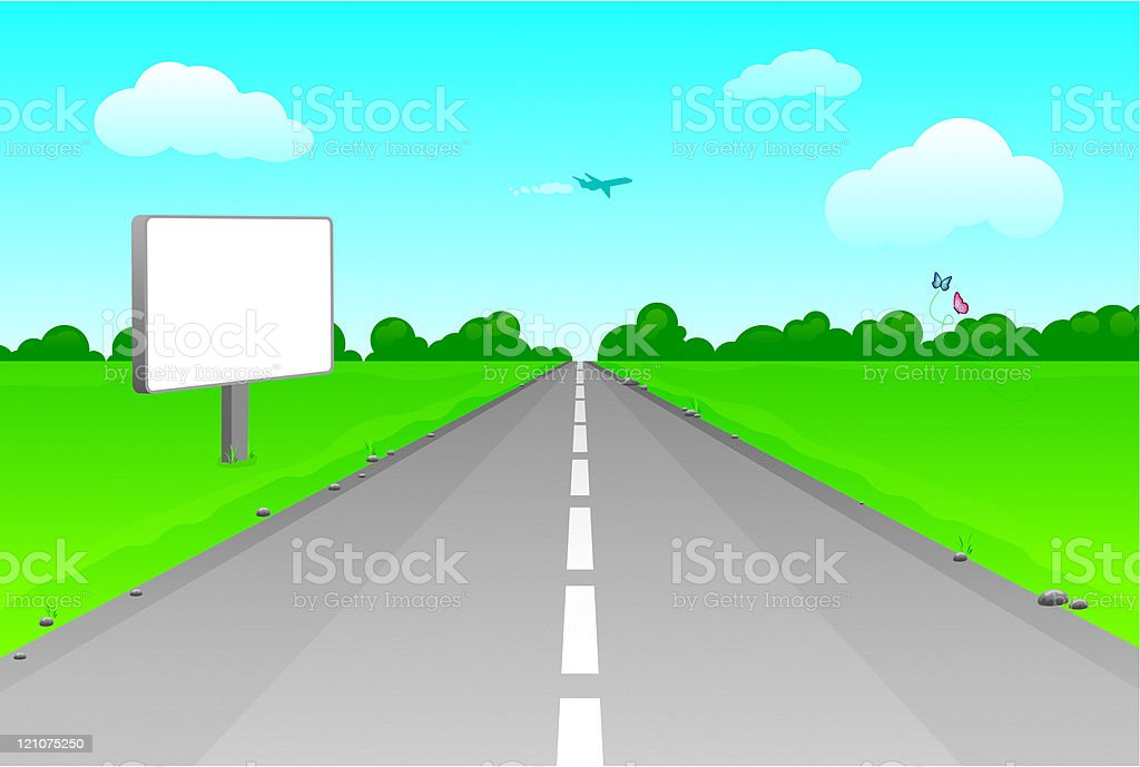 road perspective with blank billboard vector art illustration