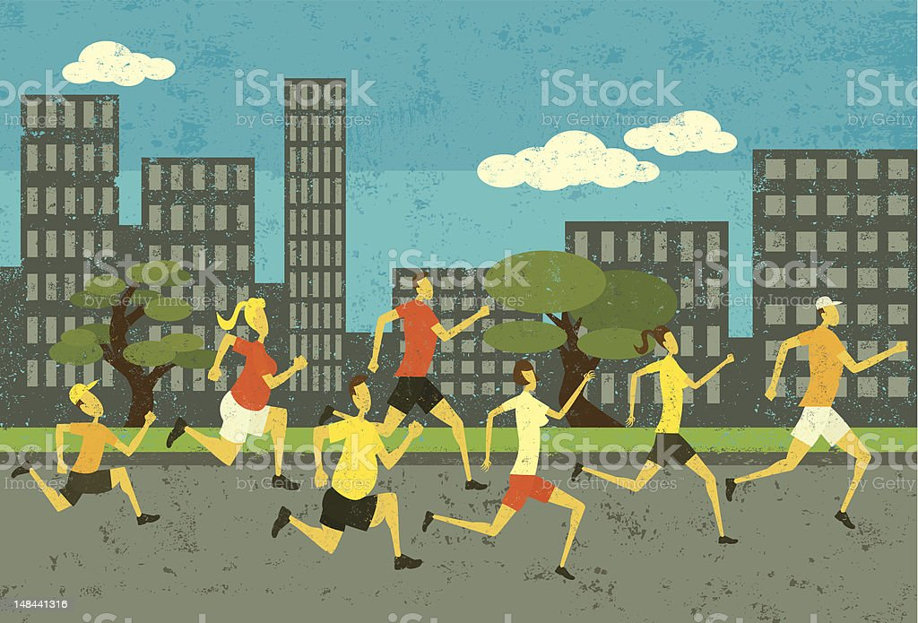 Road race runners vector art illustration