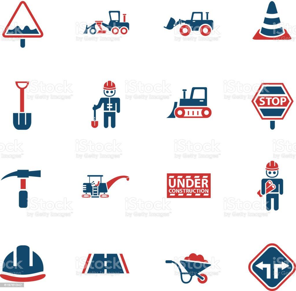 road repairs icon set vector art illustration