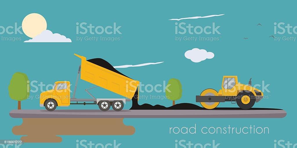 Road roller and truck making road vector art illustration
