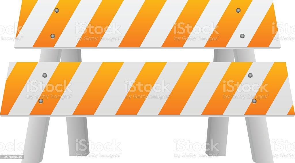 Road safety barrier vector art illustration
