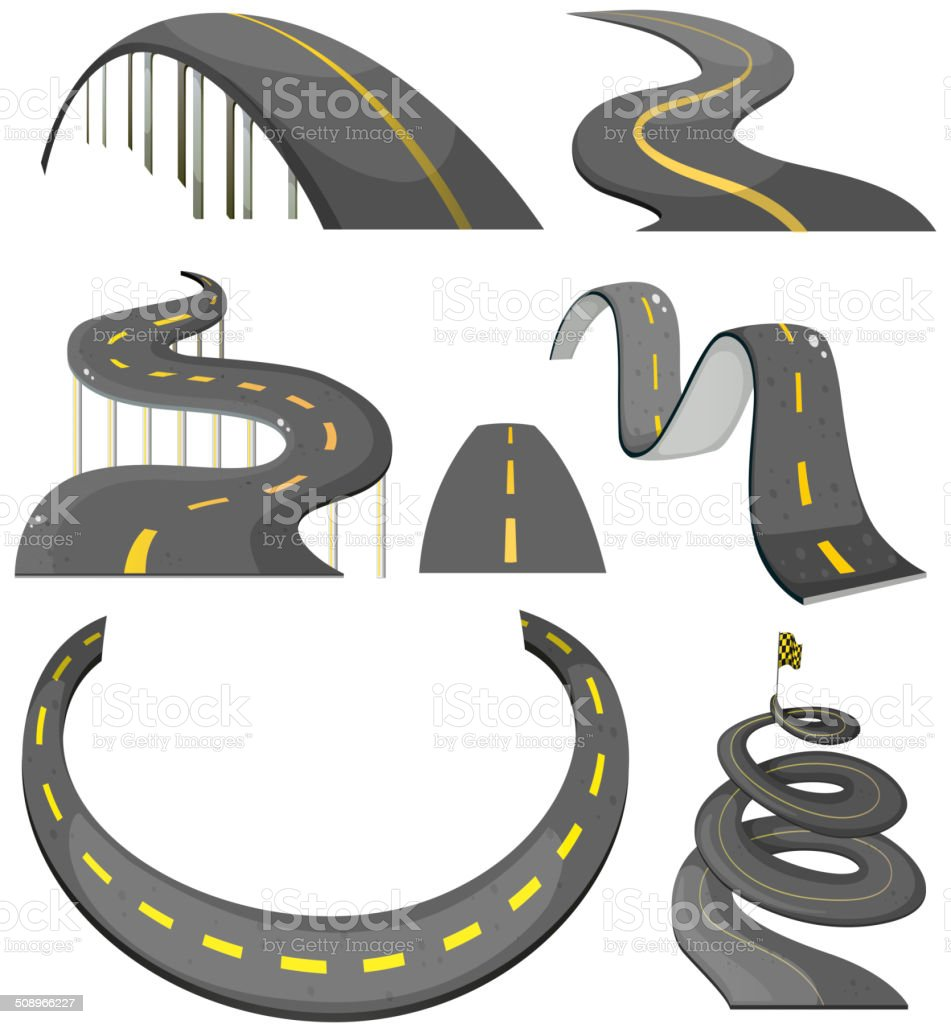 Road set vector art illustration