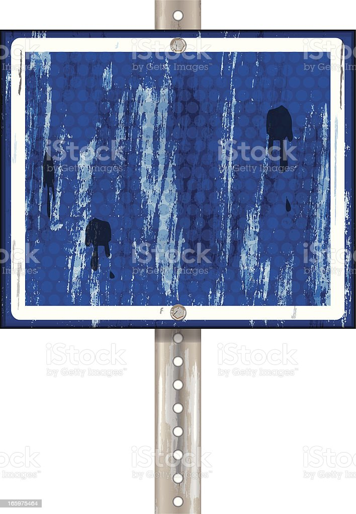 Road Sign | Blue with White Grunge royalty-free stock vector art