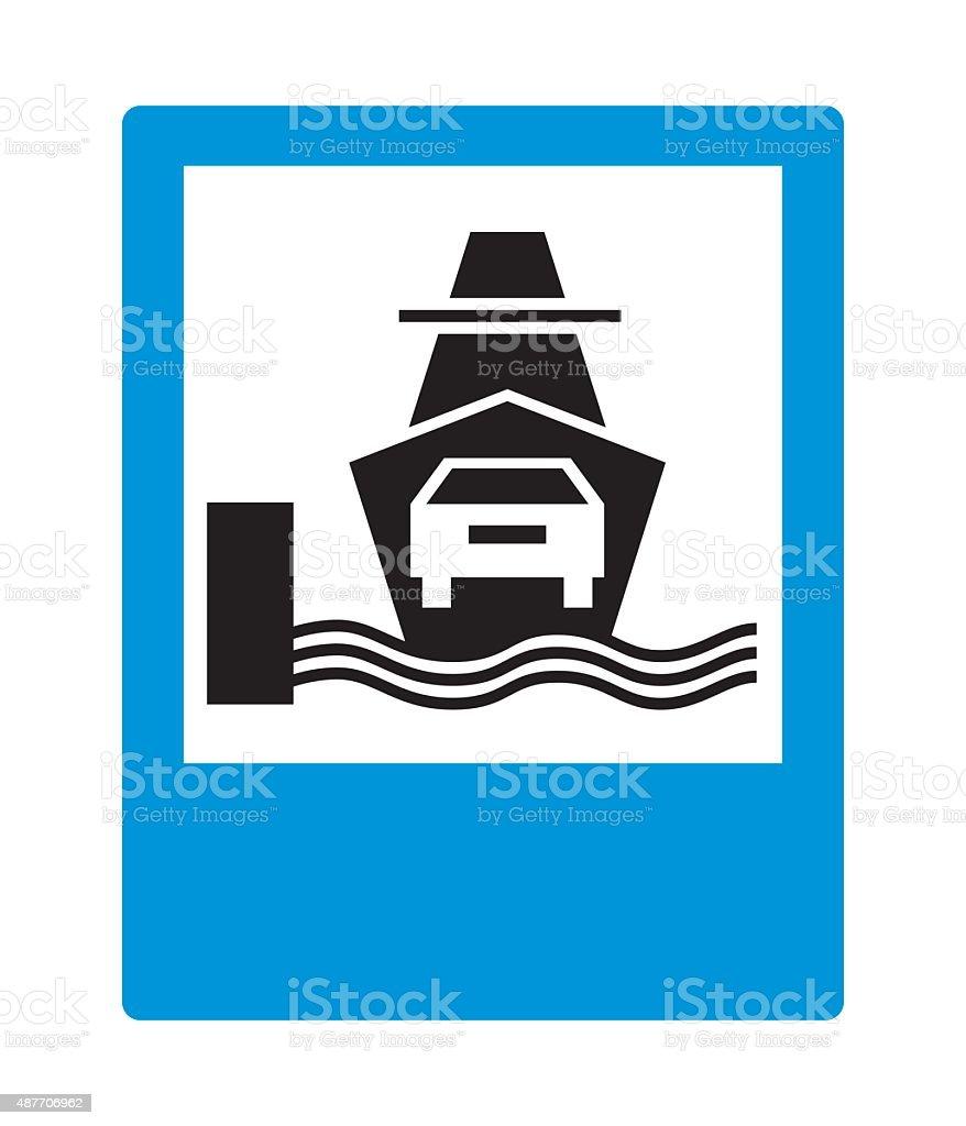 Road sign: Car ferry. vector art illustration