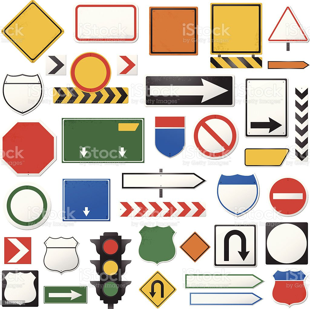 Road sign collection royalty-free stock vector art