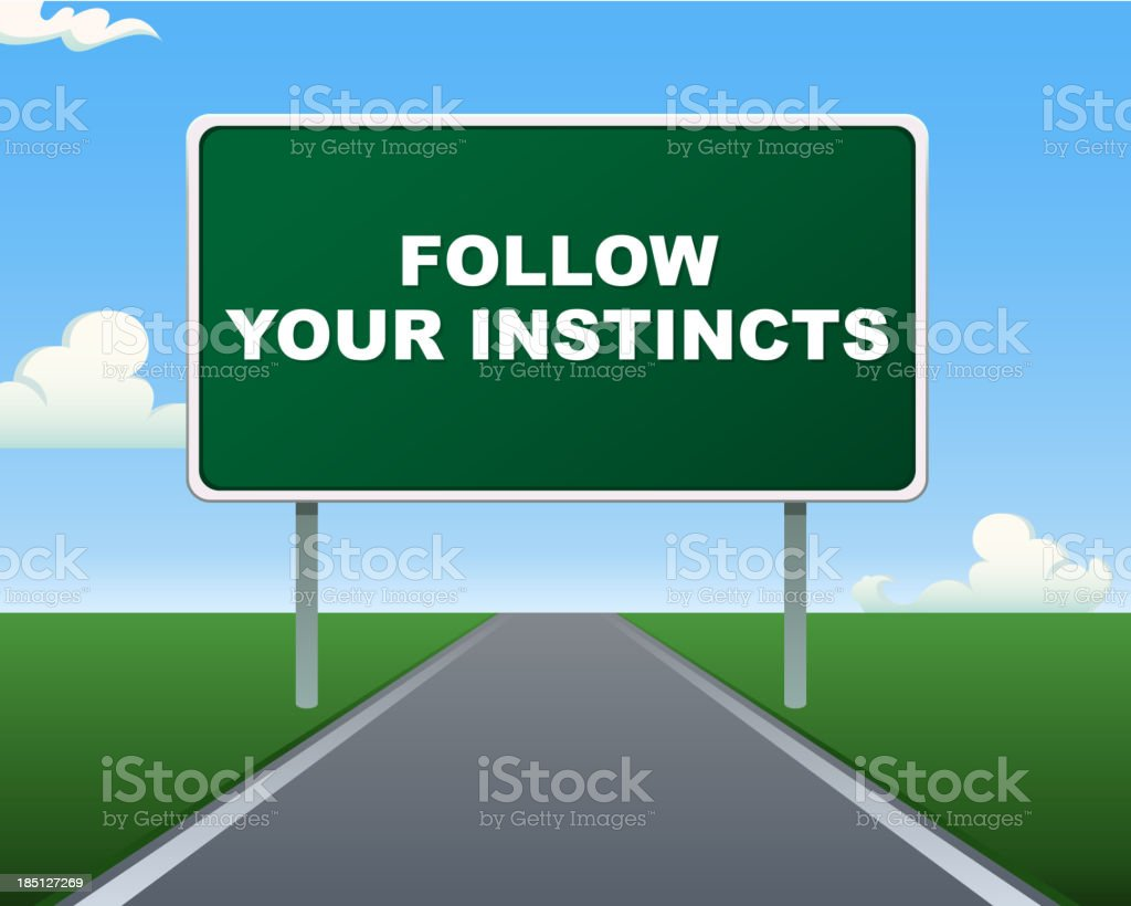 Road Sign Follow your Instincts Message royalty-free stock vector art