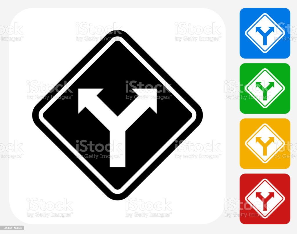 Road Sign Fork Ahead Icon Flat Graphic Design vector art illustration