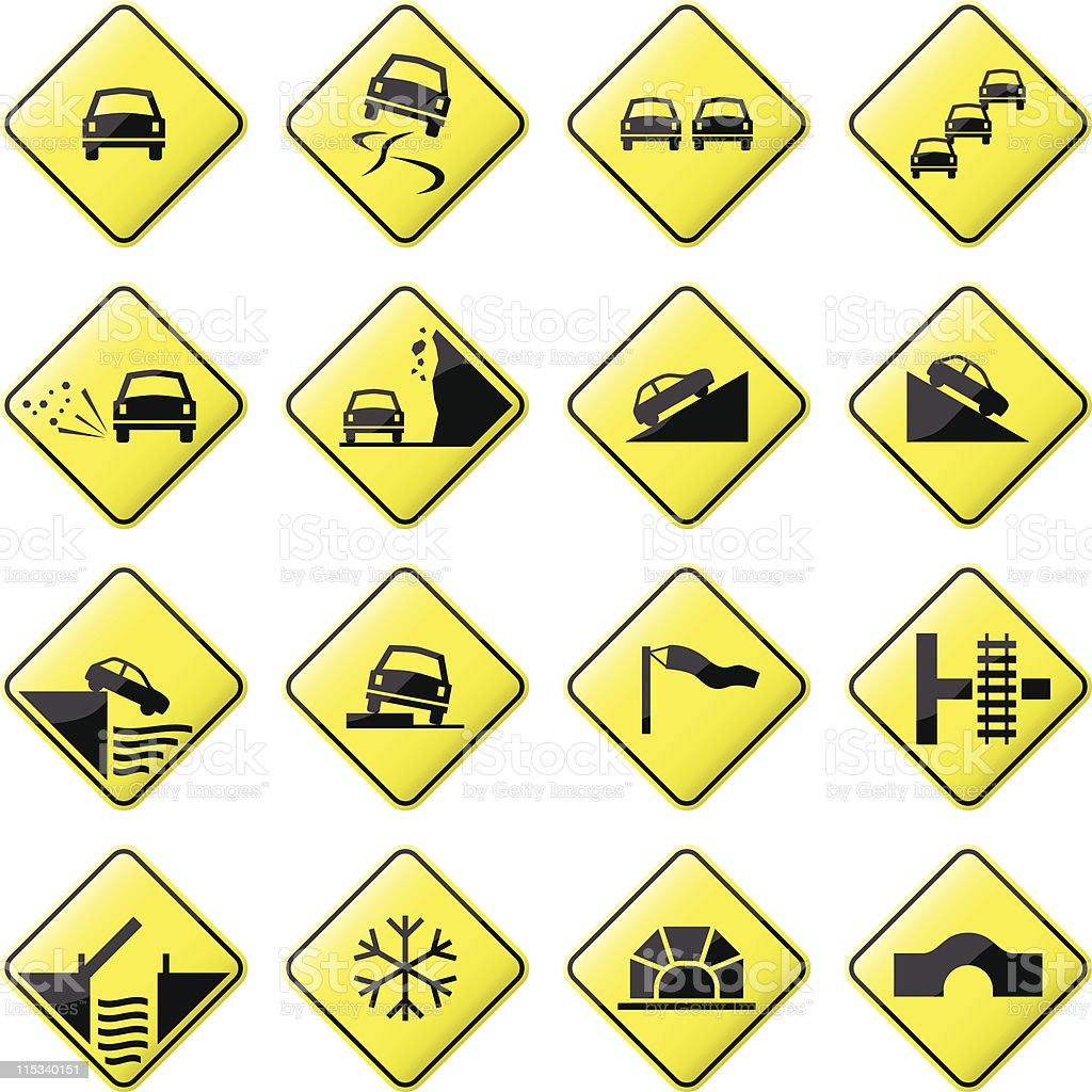 Road Sign Glossy Vector (Set 3 of 8) vector art illustration