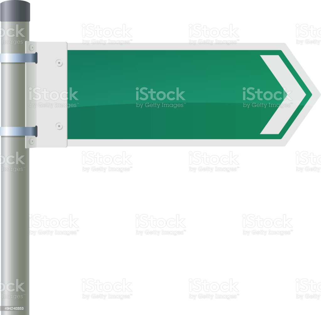 Road sign - green arrow on the pillar. vector art illustration