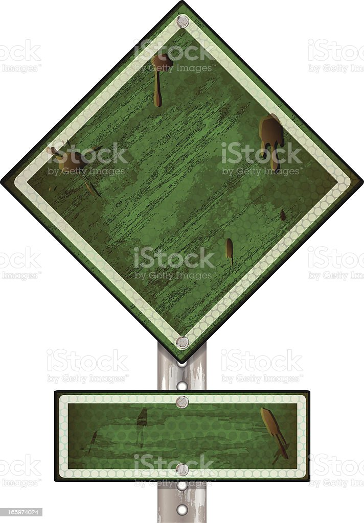 Road Sign | Green Grunge royalty-free stock vector art
