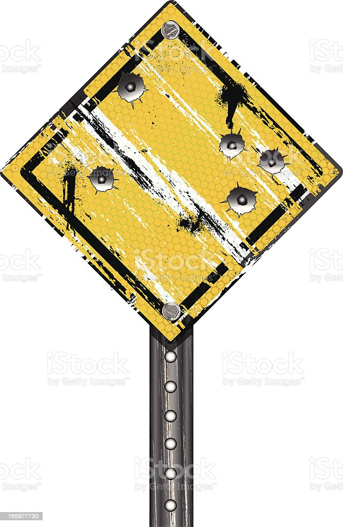 Road Sign | Grunge Bullet Holes royalty-free stock vector art