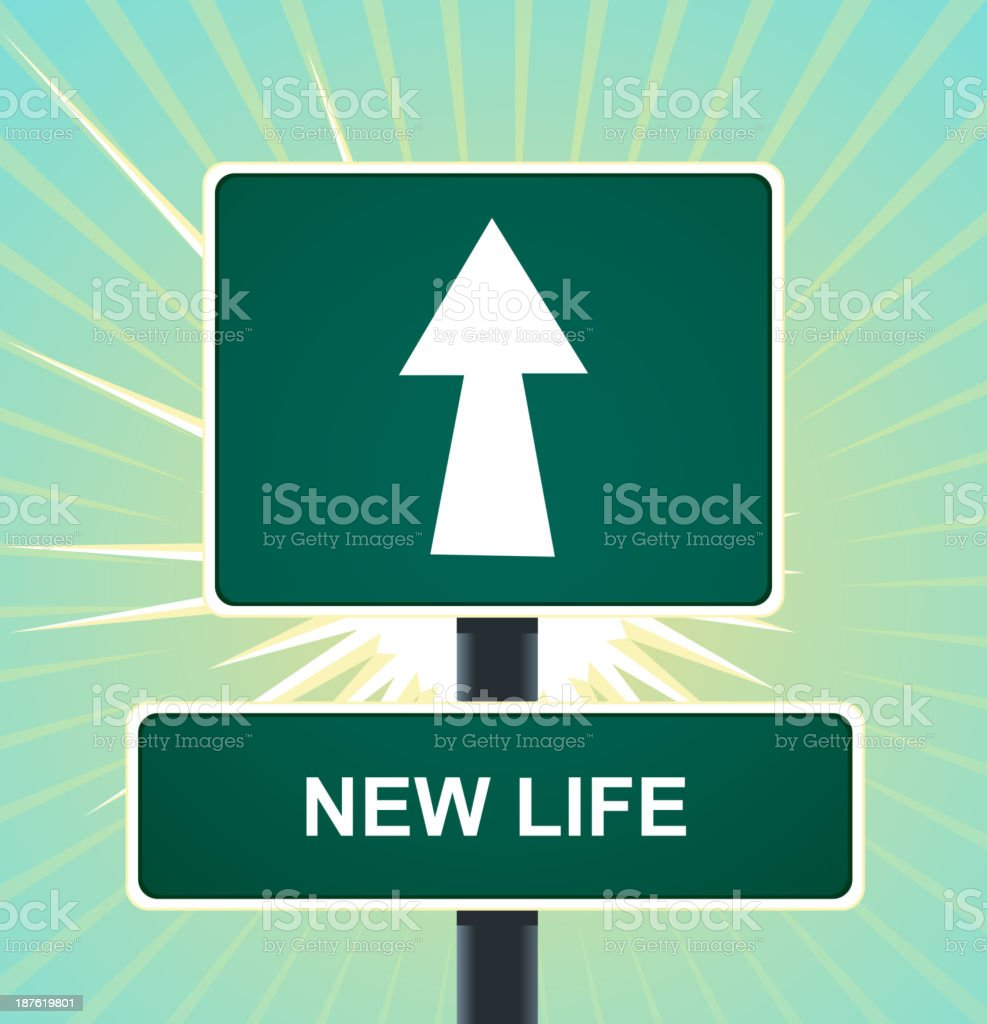 Road Sign New Life Change royalty-free stock vector art