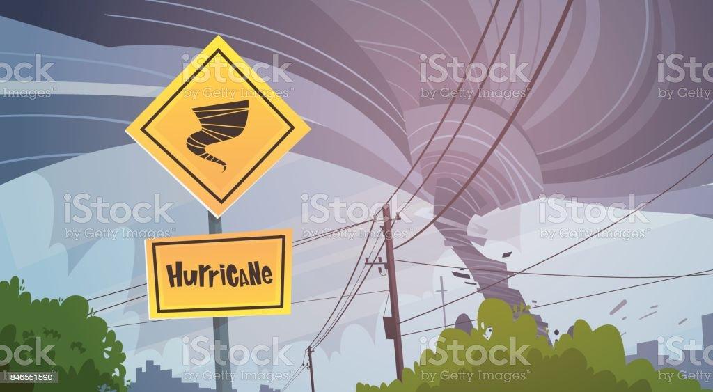 Road Sign Of Tornado Danger Hurricane Landscape Of Storm Waterspout Twister In Sky Natural Disaster Concept vector art illustration