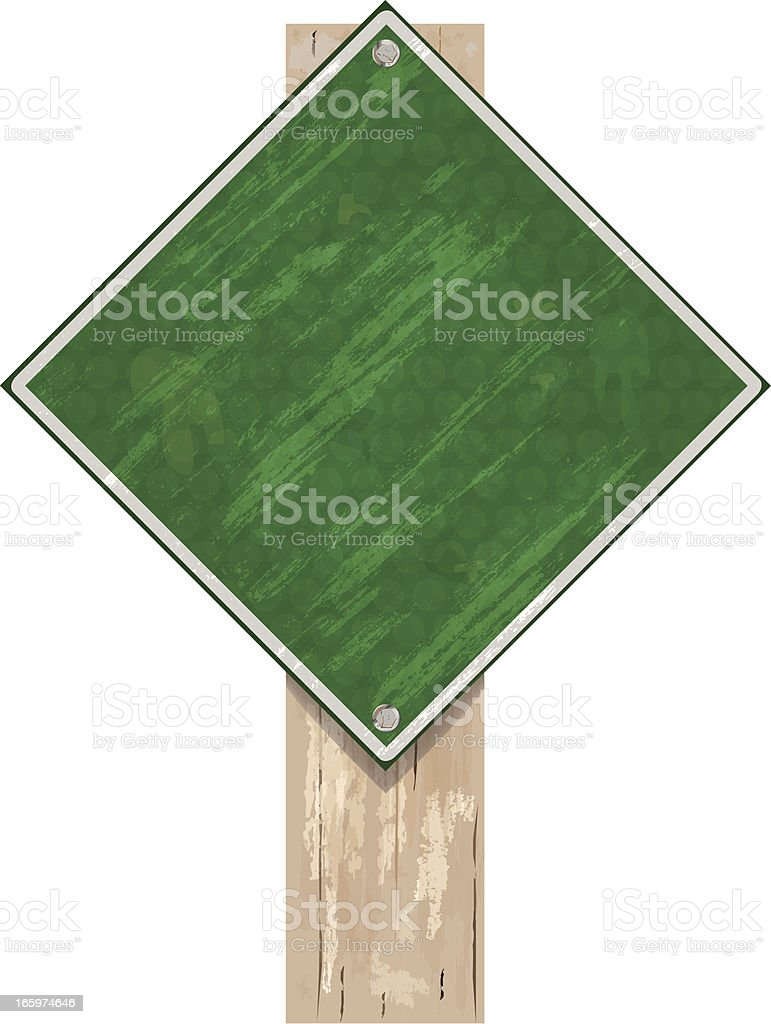 Road Sign on Wood Post   Green Grunge royalty-free stock vector art