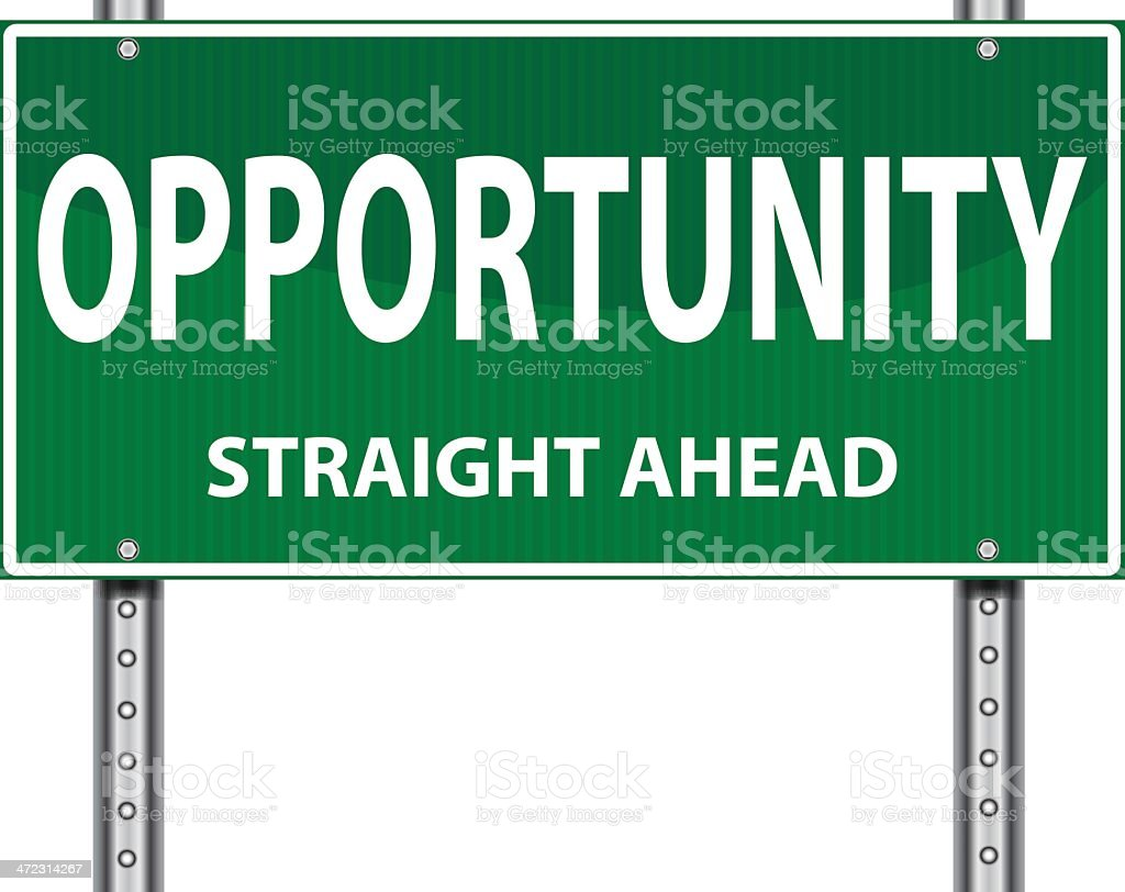 Road Sign | Opportunity Straight Ahead vector art illustration