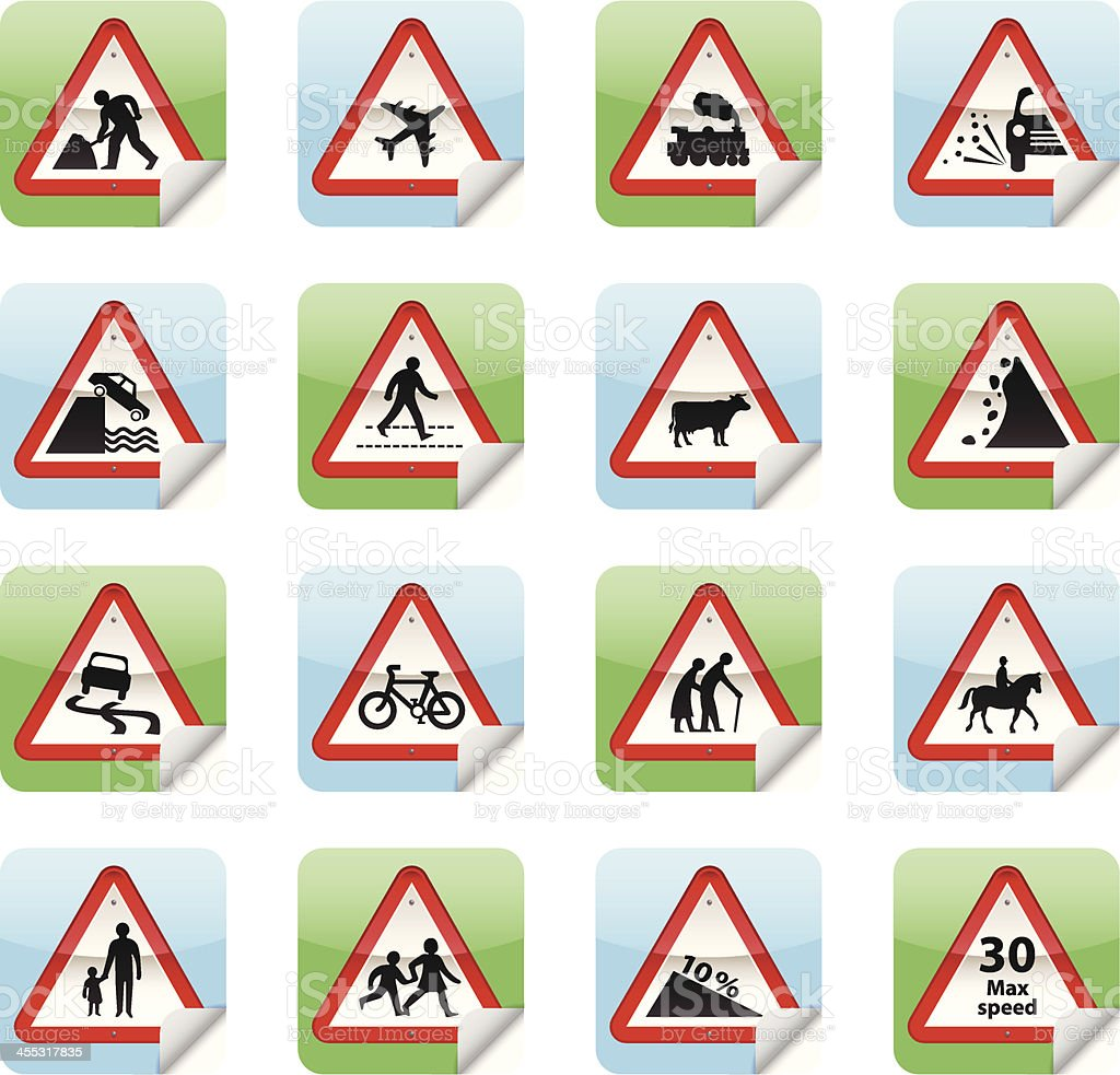 Road Sign Stickers royalty-free stock vector art