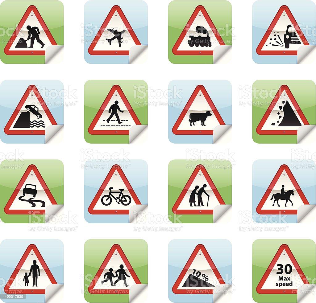 Road Sign Stickers vector art illustration