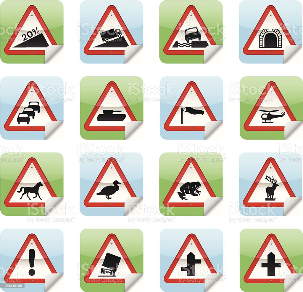 Road Sign Stickers vector art illustration