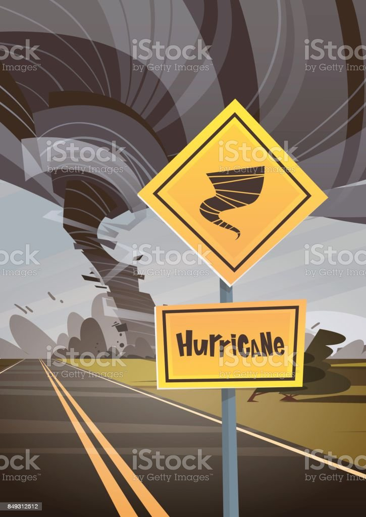 Road Sign Warning About Tornado, Twister Hurricane Countryside Wind Swirl Destroy Field Natural Disaster Concept vector art illustration
