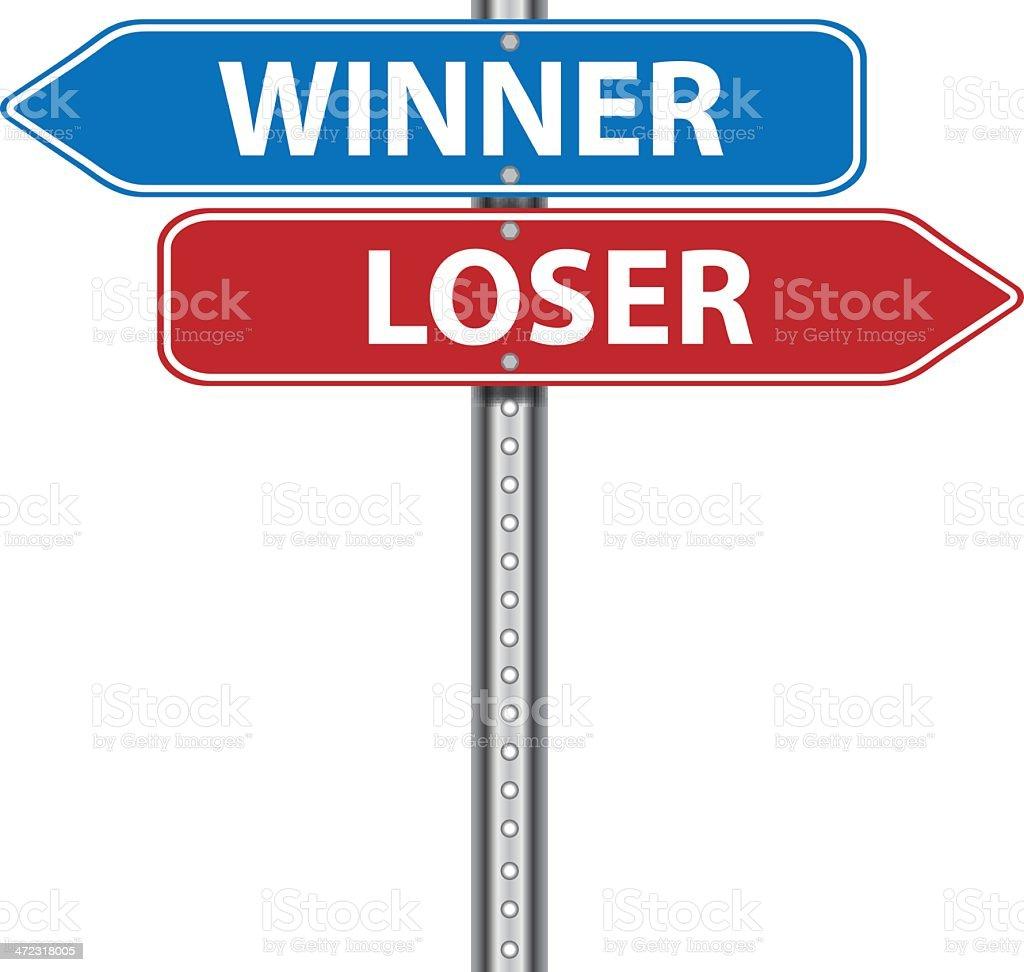 Road Sign   Winner Loser royalty-free stock vector art