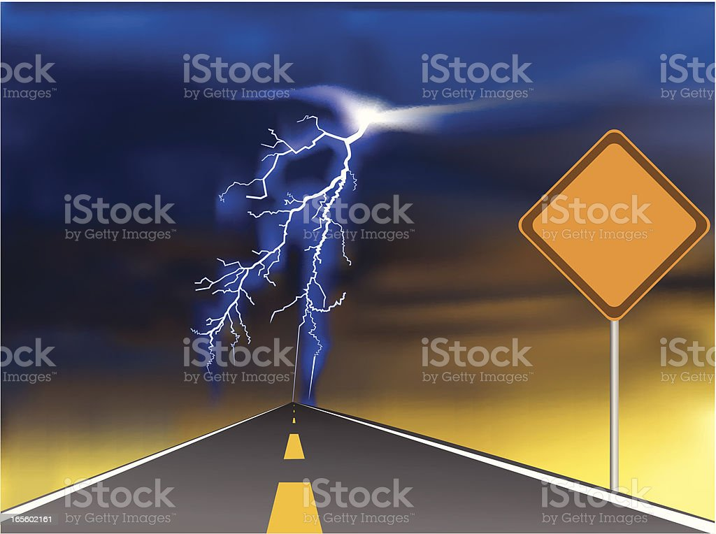 Road Sign With Lightning Storm. royalty-free stock vector art