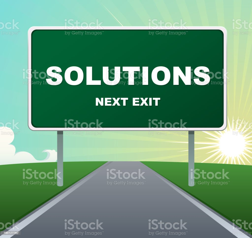 Road Sign with Solutions Next Exit Message royalty-free stock vector art